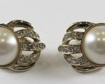 Vintage 1950s Signed Hobe Faux Pearl and Rhinestone Earrings