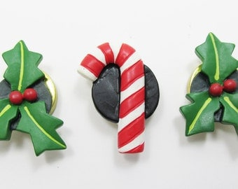 Collectible Holly and Candy Cane Button Covers