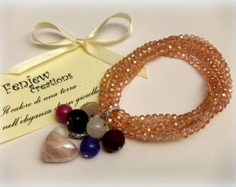 Crystal elastic bracelet with stones