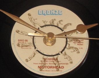 "Motorhead bomber 7"" vinyl record clock"