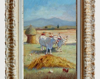 Framed old painting typical Italian countryside with oxen original oil of Enio Duranti