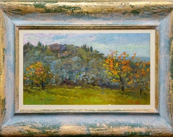 Italian painting in the middle of Tuscany country original framed oil Giampiero Novelli Italy