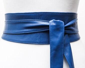 Royal Blue soft Leather Obi Belt | Waist Corset Belt | Real Leather Belt| Bridesmaid Belt | Wrap Sash Belt | Petite to Plus Size Belts