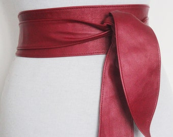 Red metallic Leather Obi Belt tulip tie| Sash Belt | Leather tie belt | Real Leather Belt | Plus size belts| Obi Sash Belts
