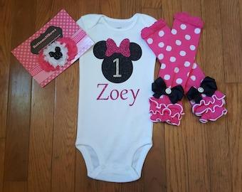 "Minnie Mouse Glitter Vinyl ""1"" with personalized name Onesie,polka dot Leg Warmers, & Headband Set, baby girl,1st Birthday,Cake Smash"