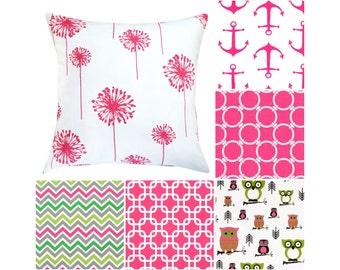 Hot Pink Throw Pillow Cover.Dandelion Pillows.Pink Decorative Pillows.Pink Nautical Pillows.Chrevron Toss Pillows.Owls Pillows