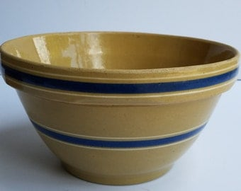 Vintage Yellow Ware Mixing Bowl with Blue Banding