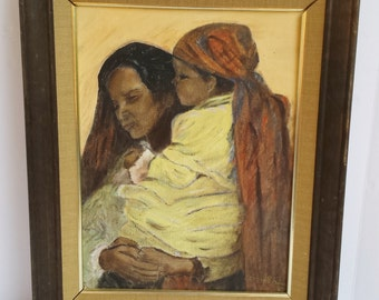 Vintage Signed Ann Shin Painting of a Mother and Child