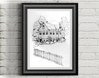 """Custom Home Ink Illustration, Commissioned Art, Housewarming Gift, Personalized Gift, Birthday Gift, Christmas Present, 5x7"""" and 8x10"""" Sizes"""