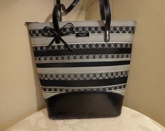 Kate Spade Purse, Black Silver Kate Spade Shoulder Bag, Stripes , Circles, Tall Kate Spade Purse