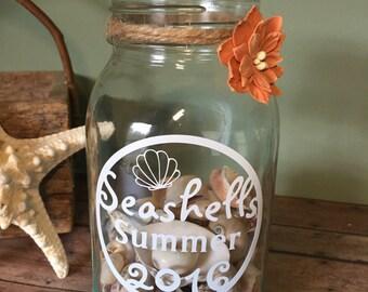 Seashell Collection Holder, Seashell Keepsake, Glass Jar for Shells, Seashell Jar, Painted Mason Jar, Seasshell Decor, Beach Decor