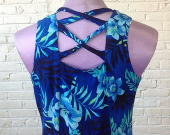 Vintage 90's Sleeveless Blue Tropical Print Button Down Dress. Sz S/M