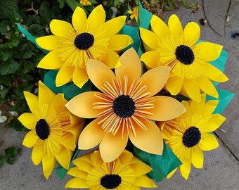 Origami Paper Flowers, Paper Flowers, Paper Sunflowers, Paper Bouquet
