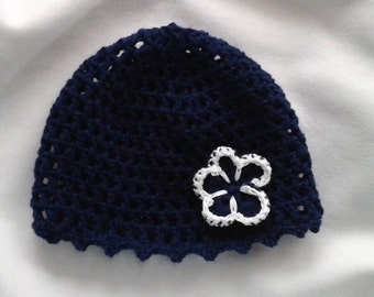 Baby hat in Navy Blue - with sweet flower size 36 cm - 13 cm long