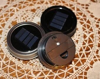 Mason Jar Solar Light Lid - Metal Ring - Single White LED - solar patio lights, solar light, outdoor solar lights, solar mason jar