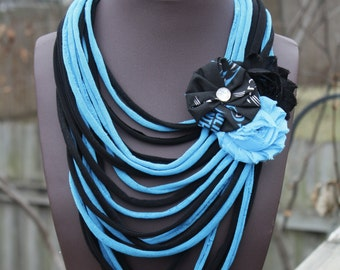 Carolina Panthers Shredded Scarf with Flower Clip/Pin