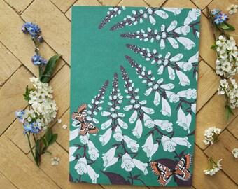 Fritillary & foxglove greetings card