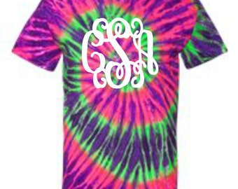 monogrammed shirt, monogrammed tee shirt, mogrammed tie dyed shirt, personalized shirt