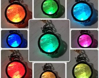 Rainbow, color-changing LED natural quartz stone pendant