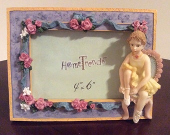 A Cute Picture Frame with a Ballerina and Floral Design, Home Trends.