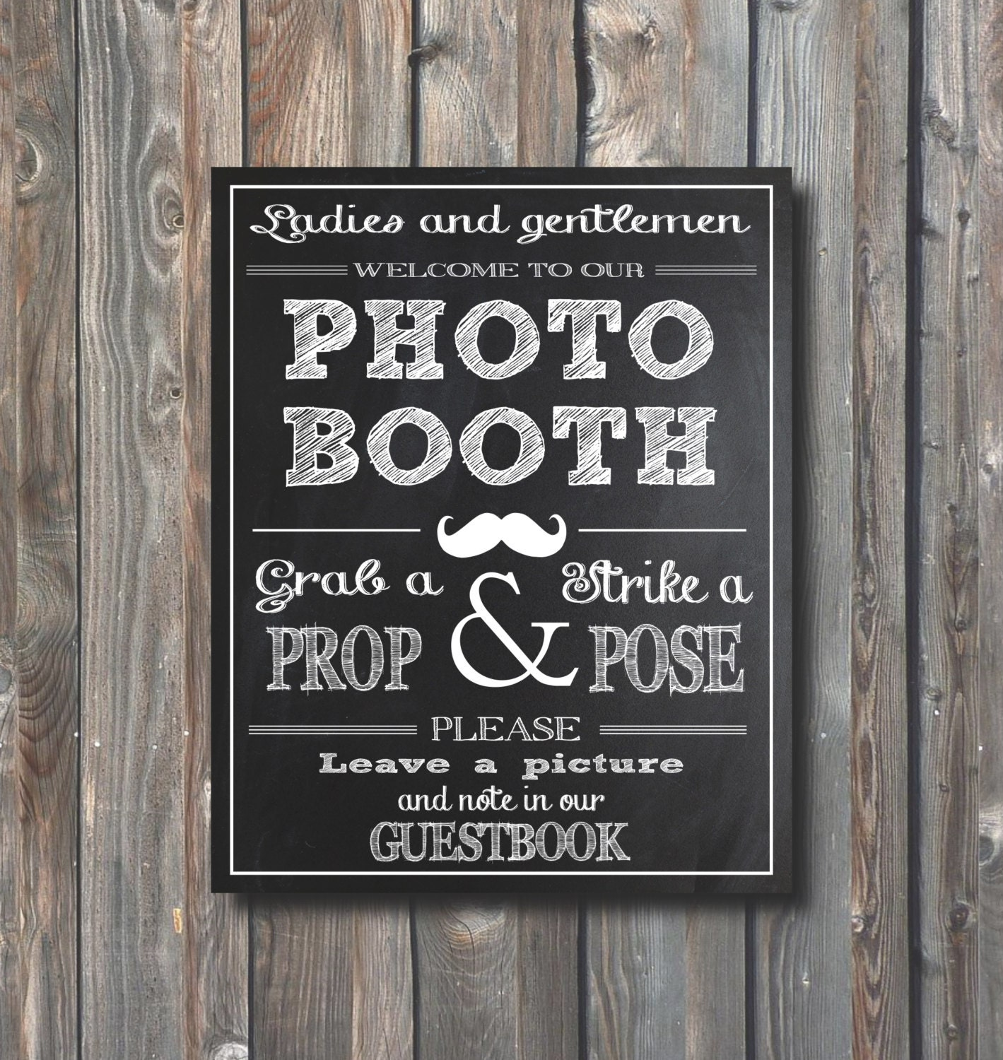 Wedding Photo Guestbook: PRINTABLE Wedding Photo Booth SignGuestbook By