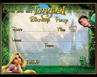Rapunzel Tangled Birthday Party Invitation / Invites