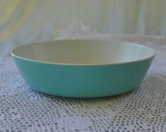 Vintage Texas Ware Melamine Serving Bowl, Teal Blue, 7 1/2 in.
