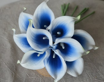 10 Picasso Royal Blue Calla Lilies Real Touch Flowers For Silk Wedding Bouquets, Centerpieces, Wedding Decorations