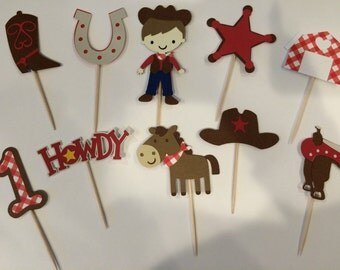 24 Mini Cowboy Cupcake Toppers