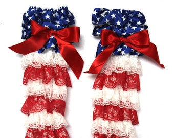 Fourth july red white blue star Lace Petti Warmers-size 12 months- 2t