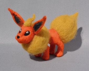 """Flareon, Needle Felted Pokemon 100% handmade character, measures 8"""" from nose to tail and is 4.5"""" high."""