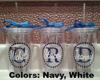 Personalized Monogram Tumbler - BPA Free - 16 oz