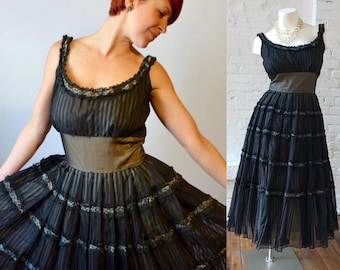 1950s Black Rockabilly Saloon Dress