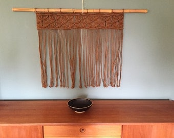 Large Macrame and Bamboo Wall Hanging