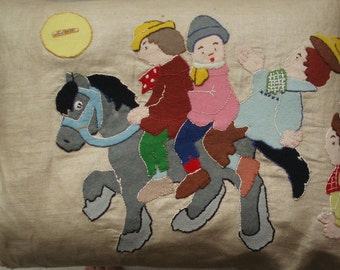 1920's Nursery Rhyme Widdicombe Fair Hand Worked Linen Large Panel  . Babys Childs  Room Decoration . Vintage Wall Art .