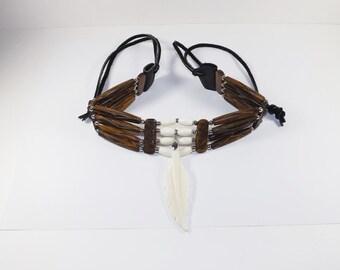 Bone Hairpipe Choker, Natural Bone & Antiqued Bone, Carved Bone Feather,  Regalia, Pow Wows, Rendezvous, Mountain Man