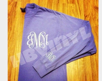 Long Sleeve Initial tshirts. Small initial on front and optional sleeve initials.