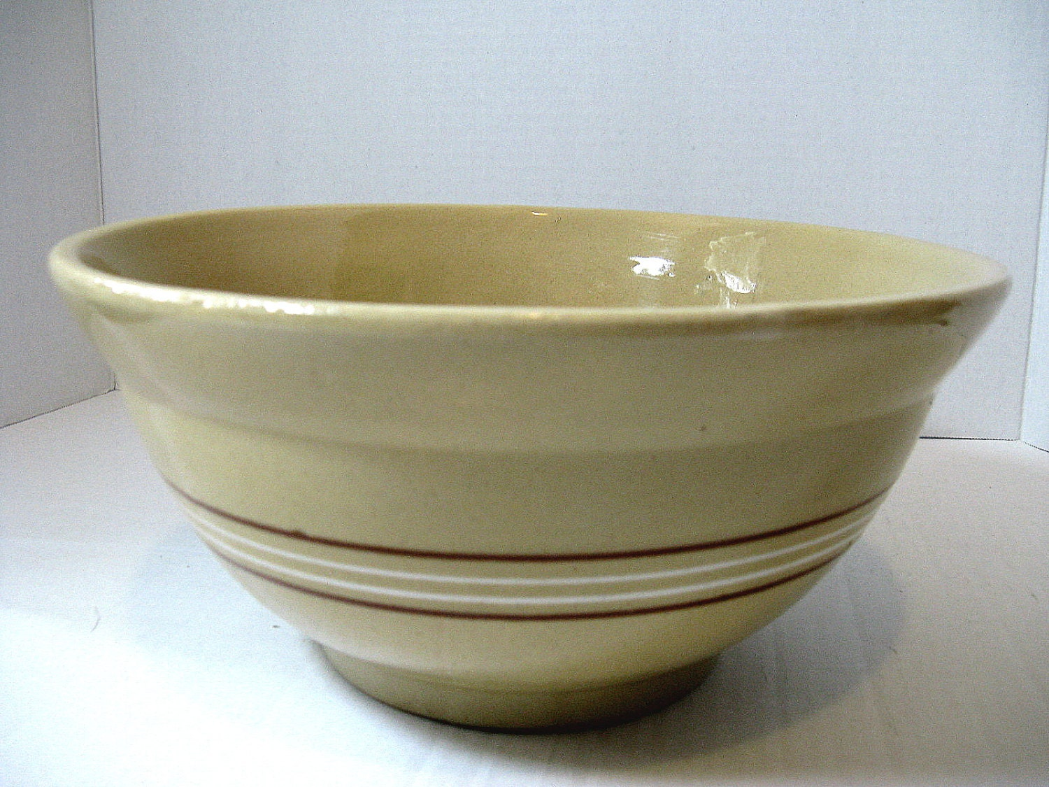 Vintage Yellow Ware 10 Mixing Bowl White and Brown