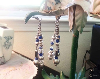 Vintage 1960s Dangle Earrings Hippie Boho Silver and Blue Beads 3""