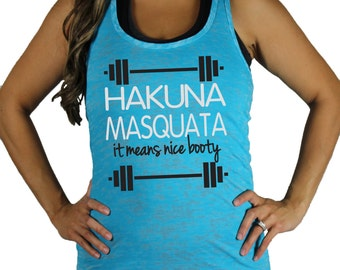 Hakuna Masquata burnout Gym Tank by She Squats Clothing. Breast Cancer Awareness shirt. *size / color chart in photos*