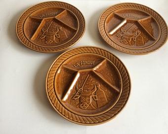 Set of 3 vintage Sarreguemines thick glazed fondue plates