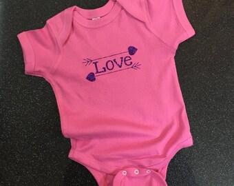 Love & Arrows Pink Onesie