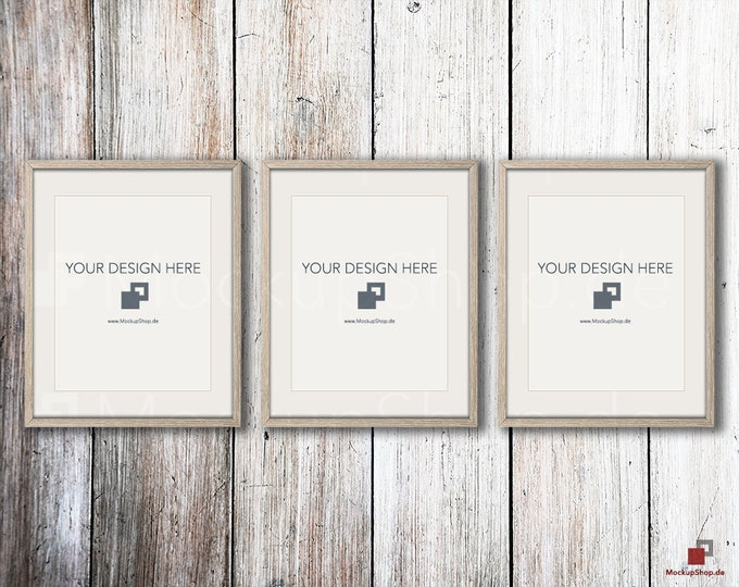 SCANDINAVIAN MOCKUP FRAME 8x10,  Set of 3, old wood frame mockup shabby chic, Old Vintage Frame Mock-up, Vintage nordic style