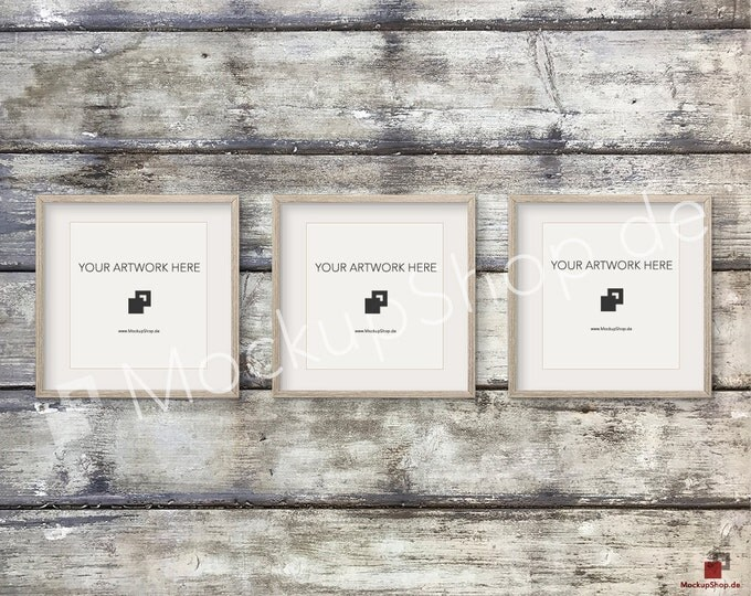 Set of 3 SQUARE MOCKUP FRAME on old wooden wall, Frame Mockup, Amazing brown photo frame mockup, Digital Download