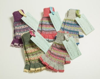 Shetland Fingerless, knitted Fairisle gloves