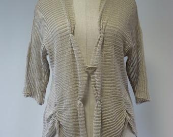 Sale, new price 66 Euro, original price 80 Euro. Delicate natural linen cardigan, L size.