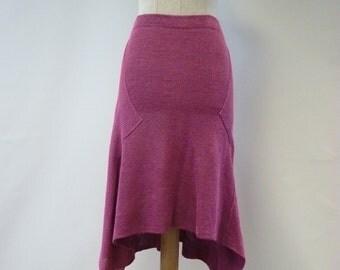 Handmade raspberry sorbet linen skirt, M size. Casual feminine look.