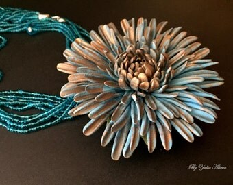 Blue Flower, Polymer Clay jewelry,  Blue Aster, Blue Necklace, Big Flower, Polymer Aster, Polymer Clay Flower, Aster Necklace