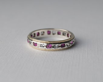 Vintage gold and Sterling Silver Eternity Ring - Vintage Wedding Band - Eternity Ring - Vintage Wedding Ring -  Vintage Ring Size P 7 3/4