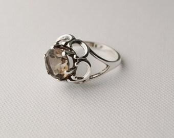 Vintage Sterling Silver Solitaire Ring - Vintage Smoky Quartz Ring Vintage Ring - Vintage Silver Ring Vintage Statement Ring - size N 7